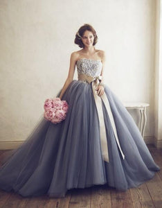 Gray A Line Strapless Tulle Wedding Dresses Ball Gowns With Bow