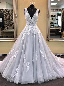 Gray V Neck Strap Prom Dresses Ball Gowns With Appliques