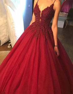 Burgundy Spaghetti Strap Deep V Neck Prom Dresses Ball Gowns With Beading - NICEOO