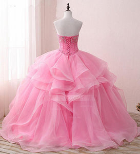 Pink A Line Sweetheart Prom Dresses Ball Gowns With Organza