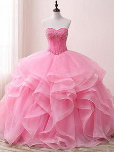 Pink A Line Sweetheart Prom Dresses Ball Gowns With Organza - NICEOO