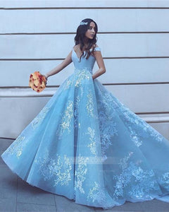 Blue A Line Off Shoulder V Neck Satin Prom Dresses Ball Gowns With Appliques - NICEOO