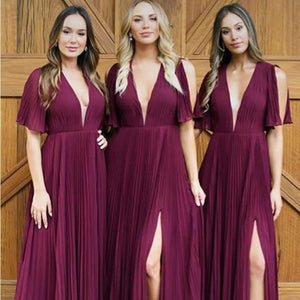 Unique Purple Deep V Neck Side Split Bridesmaid Dresses