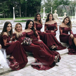 Burgundy Off Shoulder Long Sleeves Long Satin Bridesmaid Dresses - NICEOO