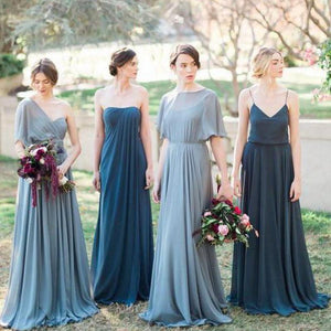 A Line Empire Waist Four Styles Chiffon Long Bridesmaid Dresses - NICEOO