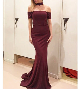 Burgundy Slim Line Off Shoulder Long Prom Dresses Military Ball Dresses - NICEOO