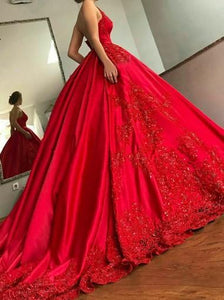 Red Spaghetti Strap Deep V Neck Satin Prom Dresses Ball Gowns With Appliques - NICEOO