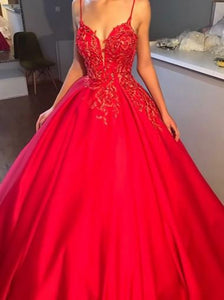 Red Spaghetti Strap Deep V Neck Satin Prom Dresses Ball Gowns With Appliques