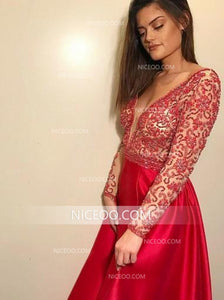 Red Deep V Neck Open Back Prom Dresses Satin Evening Dresses