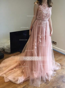 Pink Round Neck V Back Tulle Long Prom Dresses Evening Dresses