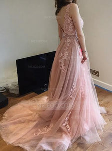 Pink Round Neck V Back Tulle Long Prom Dresses Evening Dresses - NICEOO