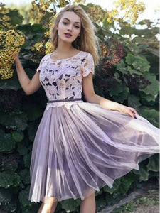 A Line Short Sleeves Homecoming Dresses,Round Neck Tulle Prom Dresses - NICEOO