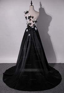 Black A Line One Shoulder Satin Prom Dresses Evening Dresses With Appliques - NICEOO