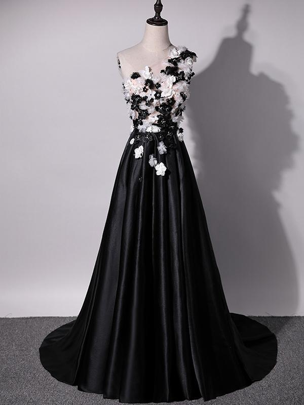 5b1b19773fb Black A Line One Shoulder Satin Prom Dresses Evening Dresses With Appliques  - NICEOO