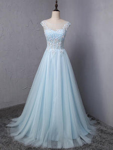 Light Blue A Line Round Neck Prom Dresses Tulle Evening Dresses With Appliques - NICEOO