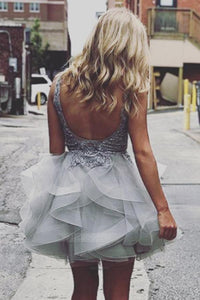 Pretty V Neck Backless Organza Homecoming Dresses,Gray A Line Mini Cocktail Dresses - NICEOO
