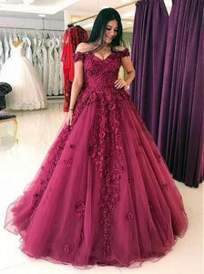 A Line Off Shoulder Sweetheart Tulle Prom Dresses Ball Gowns With Appliques - NICEOO
