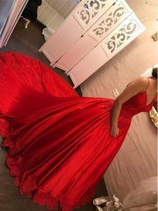 Red Spaghetti Strap Sweetheart Satin Prom Dresses Ball Gowns - NICEOO