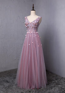 Elegant V Neck Sleeveless Tulle Prom Dresses Evening Dresses With Appliques