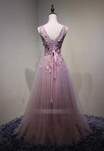 Elegant V Neck Strap Tulle Prom Dresses Evening Dresses With Appliques
