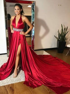 Burgundy Deep V Neck Backless Side Split Cathedral Train Evening Dresses - NICEOO