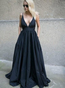 Black Spaghetti Strap Open Back Evening Dresses,Sexy Deep V Neck Prom Dresses - NICEOO