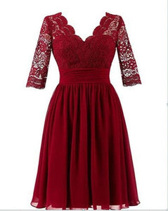 Simple Dark Red V Neck Empire Waist Affordable Short Lace Bridesmaid Dresses Evening Dresses - NICEOO
