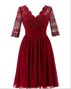 Simple Dark Red V Neck Empire Waist Affordable Short Lace Bridesmaid Dresses Evening Dresses