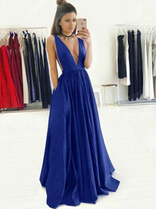 Royal Blue Deep V Neck Open Back Long Prom Dresses Evening Dresses - NICEOO