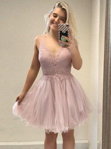 Light Pink Deep V Neck Open Back Homecoming Dresses,Knee Length Lace Cocktail Dresses - NICEOO