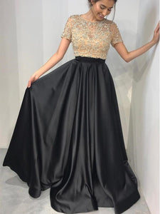 Two Pieces Round Neck Short Sleeves Satin Prom Dresses Military Ball Dresses