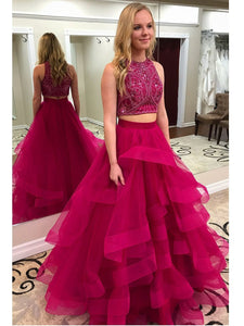 Rose Red Two Pieces Haler Long Homecoming Dresses Prom Dresses With Organza
