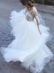 White Sweetheart Long Sleeves Open Back Wedding Dresses Bride Gown