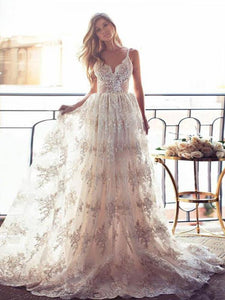 Spaghetti Strap Sweetheart Open Back Lace Wedding Dresses Bride Gown