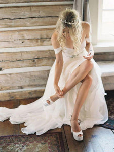 Dreamy White Off Shoulder Open Back Wedding Dresses Bride Gown - NICEOO