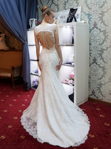 Mermaid Strap Sweetheart Open Back Long Wedding Dresses Lace Bride Gown - NICEOO