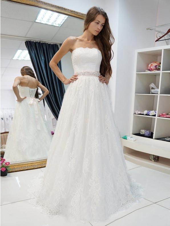 Simple White A Line Square Neck Lace Wedding Dresses Bride Gown With B