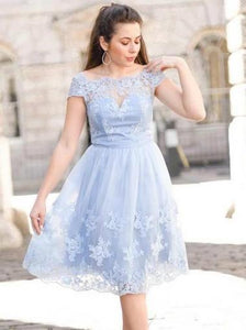 Pale Blue Short Sleeves Knee Length Lace Homecoming Dresses Prom Dresses - NICEOO