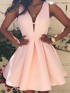 Pink Deep V Neck Sleeveless Mini Satin Homecoming Dresses Cocktail Dresses - NICEOO