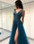 Charming Deep V Blue Tulle Prom Dress A-line Evening Dress