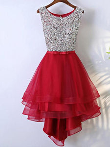 Red Round Neck Sleeveless Homecoming Dresses Prom Dresses With Organza - NICEOO