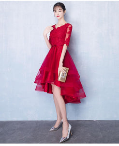 Red V Neck Half Sleeves High Low Satin Homecoming Dresses Prom Dresses - NICEOO