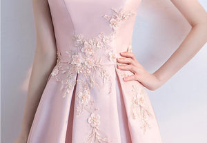 Pink Round Neck Sleeveless Tea Length Homecoming Dresses Prom Dresses - NICEOO