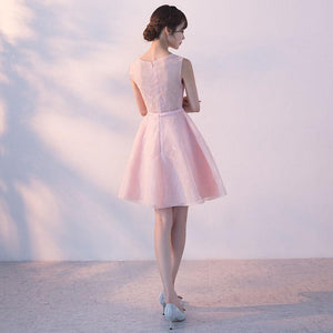 Pink Round Neck Sleeveless Mini Lace Homecoming Dresses Prom Dresses - NICEOO
