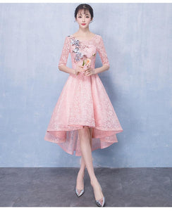 A Line Round Neck Half Sleeves Homecoming Dresses Lace Prom Dresses - NICEOO