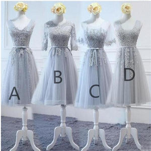 Elegant Gray Four Styles A Line Empire Waist Tulle Bridesmaid Dresses Prom Dresses - NICEOO