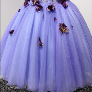 Lilac V Neck Sleeveless Tulle Homecoming Dresses,Short Prom Dresses With Appliques - NICEOO