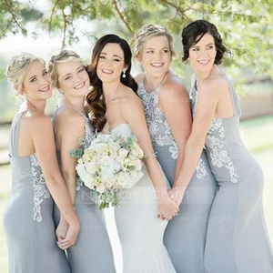 Sexy Gray Halter Round Neck Slim Line Chiffon Bridesmaid Dresses Evening Dresses - NICEOO