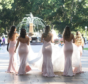 Pink Slim Line Strapless Open Back Long Satin Bridesmaid Dresses - NICEOO