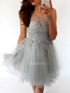 Gray Round Neck Sweetheart Open Back Homecoming Dresses Cocktail Dresses